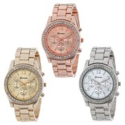 【MIARHB】3 PACK Geneva Silver Gold and Rose Gold Plated Classic Round Ladies Watch ( watch for women )