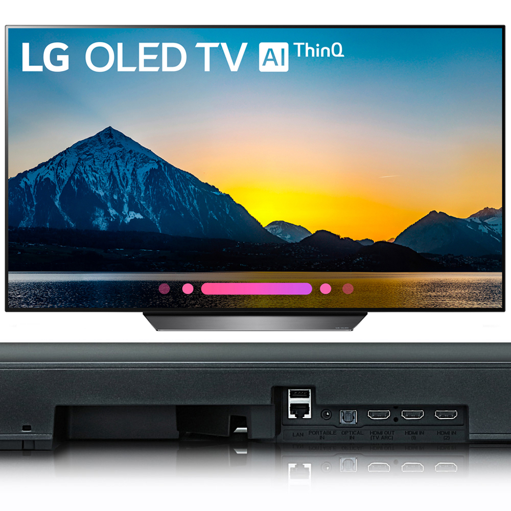 "LG 55"" Class B8 OLED 4K HDR AI Smart TV 2018 Model (OLED55B8PUA) with LG 5.1.2-Channel Hi-Res Audio Soundbar with Dolby Atmos"