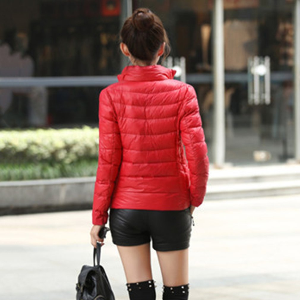 Women Cotton Coat Female Light Short Cotton Jacket Solid Color Overcoat
