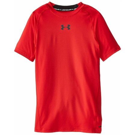 Under Armour Boys' HeatGear Armour Short Sleeve Fitted Shirt, Red /Black, Youth X-Small