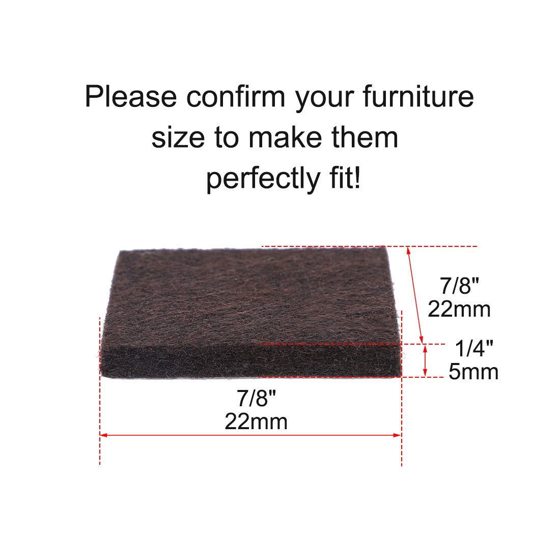 "Felt Furniture Pads Square 7/8"" Self Adhesive Anti-scratch Floor Protector 70pcs - image 4 de 7"