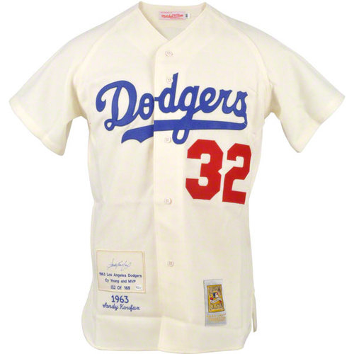 MLB - Sandy Koufax Los Angeles Dodgers Autographed 3 Stat Embroidered 1963 Patch CC Jersey