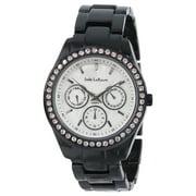 Jade LeBaum Womens Black Bracelet Boyfriend Watch Crystal Bezel Chunky Big Face Reloj de Mujer