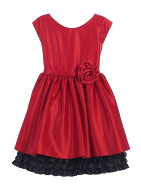 f6e467944c Product Image Sweet Kids Little Girls Red Black Rolled Flower Adorned  Occasion Dress 4