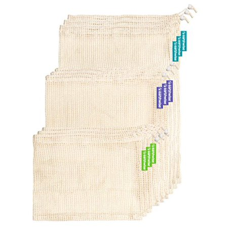 Earthwise Reusable Mesh Produce Bags in 100% Cotton Biodegradable & MAchien Washable Tare Weight Listed on Every Bag (Set of 12)
