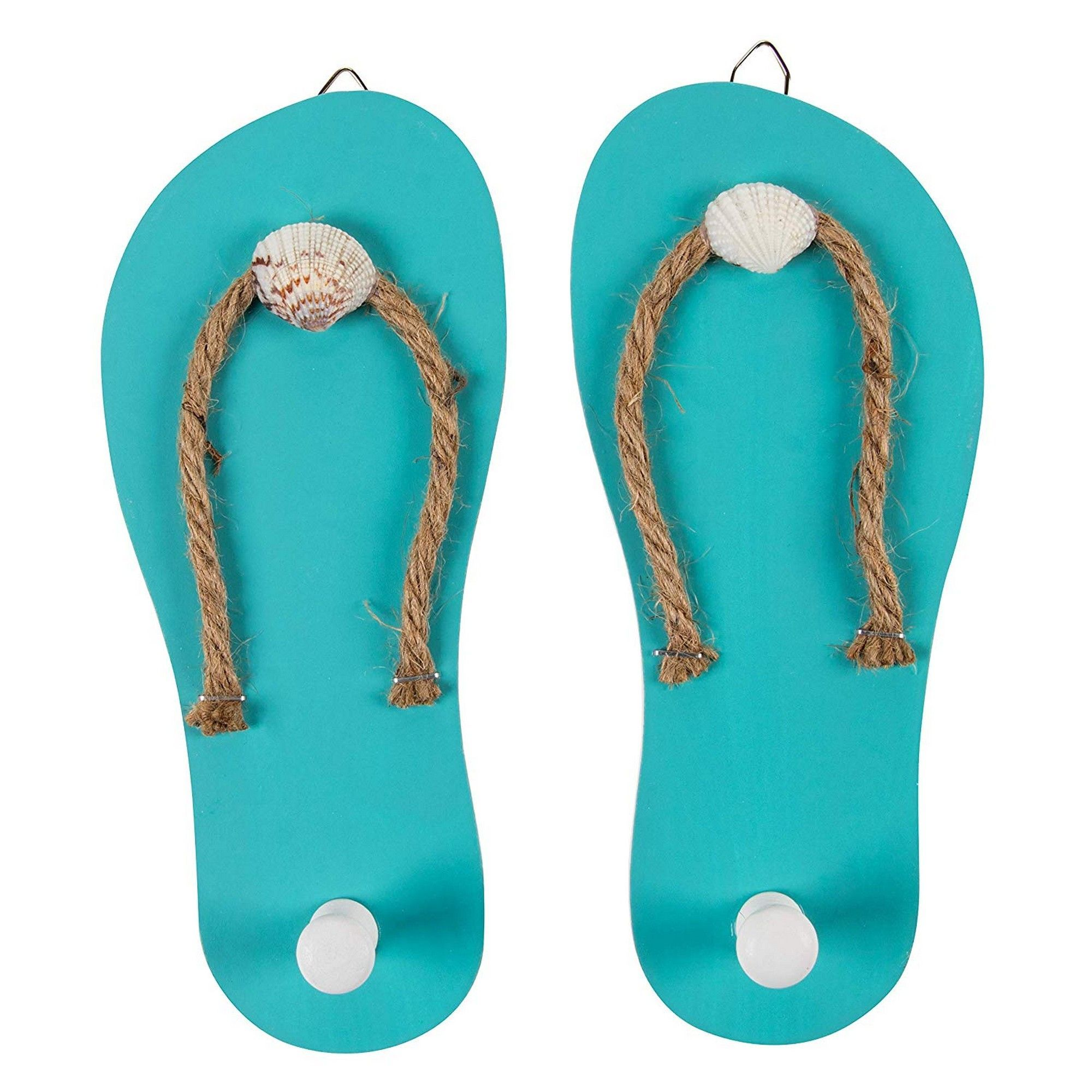 Wooden Flip Flop Shaped Ornament Hooks 1 Pair Wall Hook With Beach Nautical Designed Decoration For Bathroom Bedroom And Kitchen Turquoise Blue 8 6 X 3 75 X 0 3 Inches Each Walmart Com Walmart Com