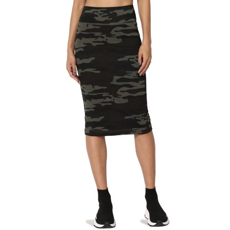 Camo Knee Length Skirt - TheMogan Junior's S~3X Camo Print Stretchy Ponte Knit Knee Length Midi Pencil Skirt