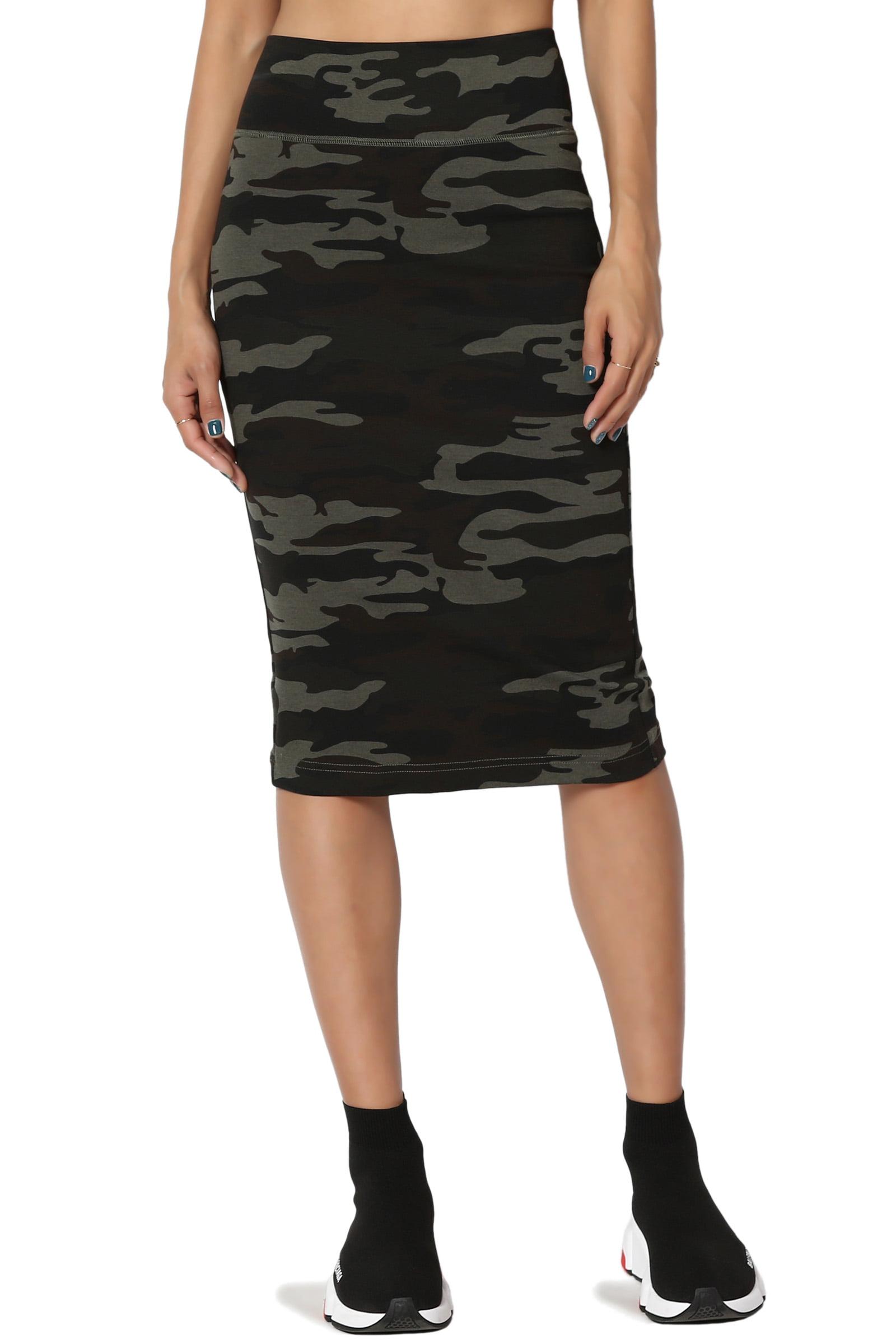 TheMogan Junior's PLUS Camo Print Stretchy Ponte Knit Knee Length Midi Pencil Skirt