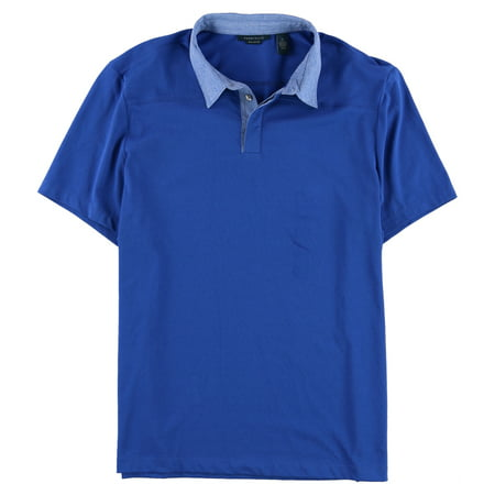 Perry Ellis Mens Mixed Media Rugby Polo Shirt