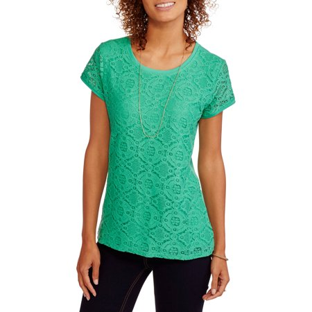 Faded Glory Womens Short Sleeve Lace Front T Shirt