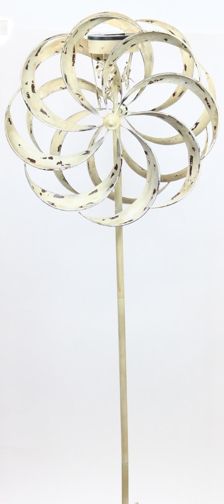 Solar White Windmill Garden Stake by Benzara