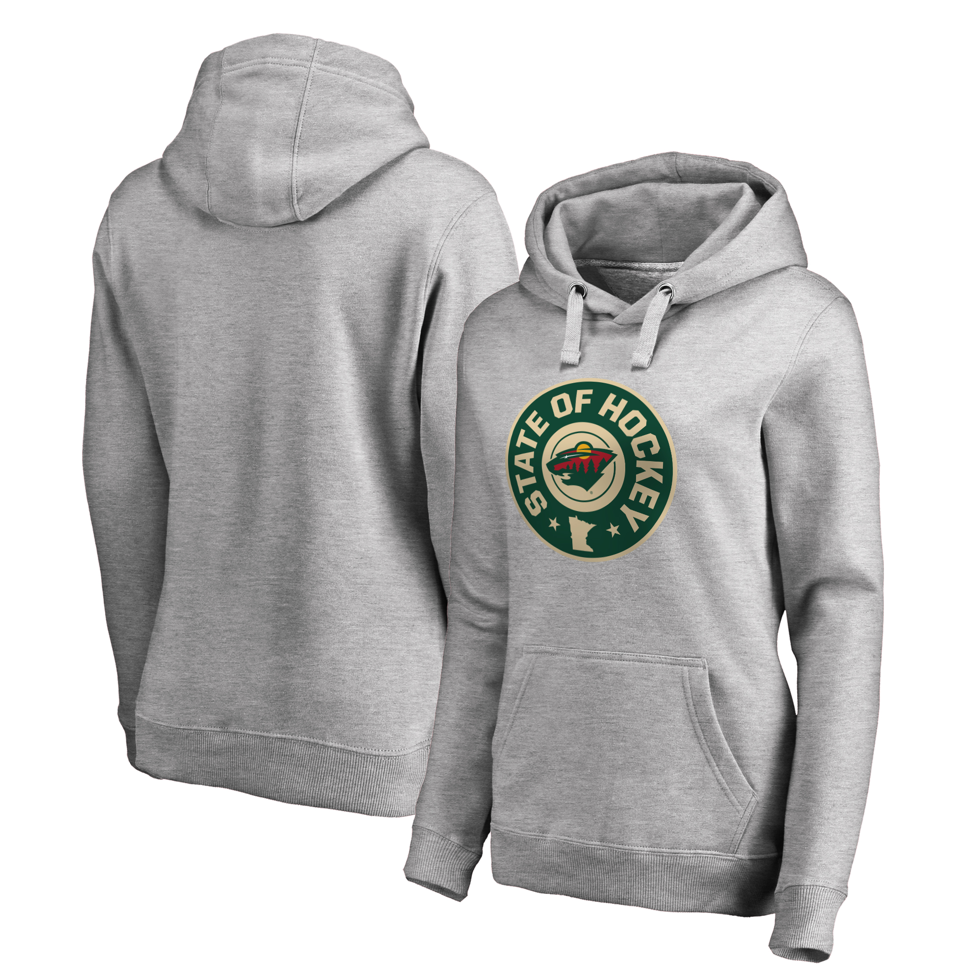Minnesota Wild Fanatics Branded Women's Plus Sizes Hometown Collection Hockey State Pullover Hoodie - Ash