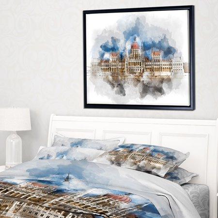 DESIGN ART Designart 'Hungarian Parliament Building' Extra Large Framed Canvas Art Print - Parliament Extra Lights