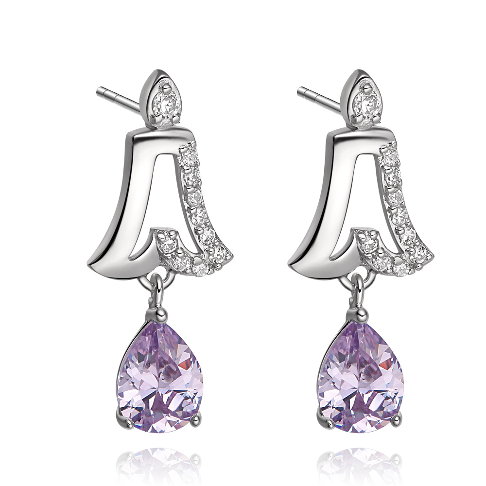 Cute Lucky Bells and Teardrop Purple Lavender Sparkling Crystals Silver-Tone Fashion Stud Earrings
