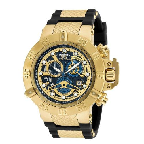 Invicta Men's Subaqua Chronograph Black Silicone Black And Gold-Tone Dial Movement: Quartz