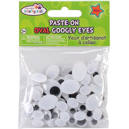 Paste-On Standard Oval Googly Eyes, 80pk, Black, 10-19mm - Googly Eyes Halloween Face