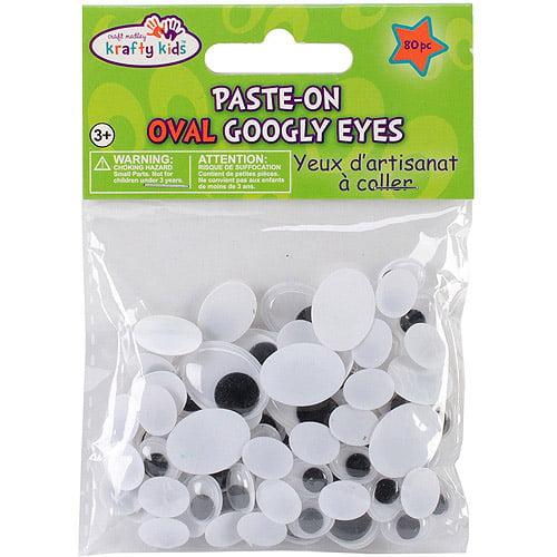 Paste-On Standard Oval Googly Eyes, 80pk, Black, 10-19mm