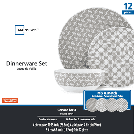 Mainstays Stoneware Gray Flannel Print Dinnerware Set, 12 Piece