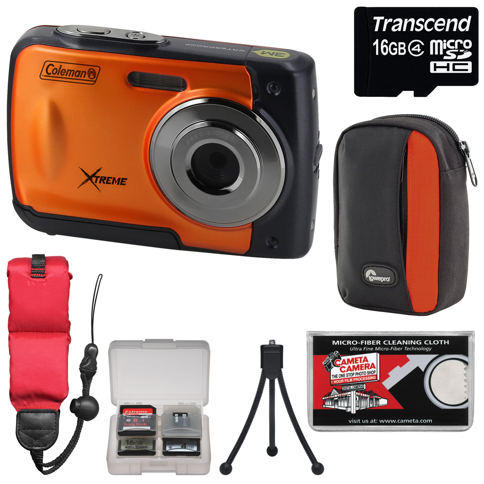 Coleman Xtreme C20WP Shock & Waterproof HD Digital Camera (Blue) with 16GB Card + Case + Floating Strap + Tripod + Kit