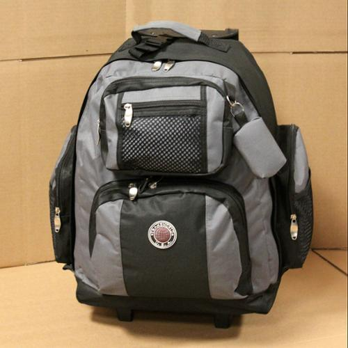 "18"" Wheeled Backpack Roomy Rolling Book Bag W/ Handle Carry on Luggage Back Pack Gray One Size"