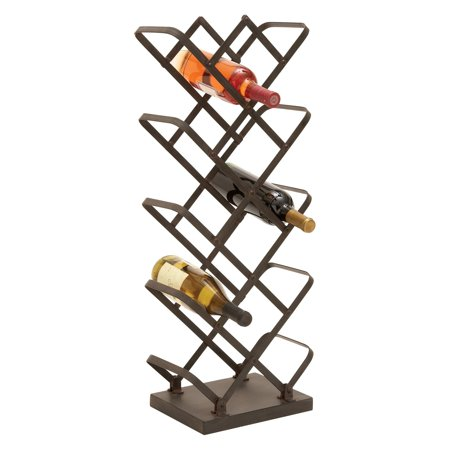 Woodland Imports Zig Zag Vertical Metal Wine Rack