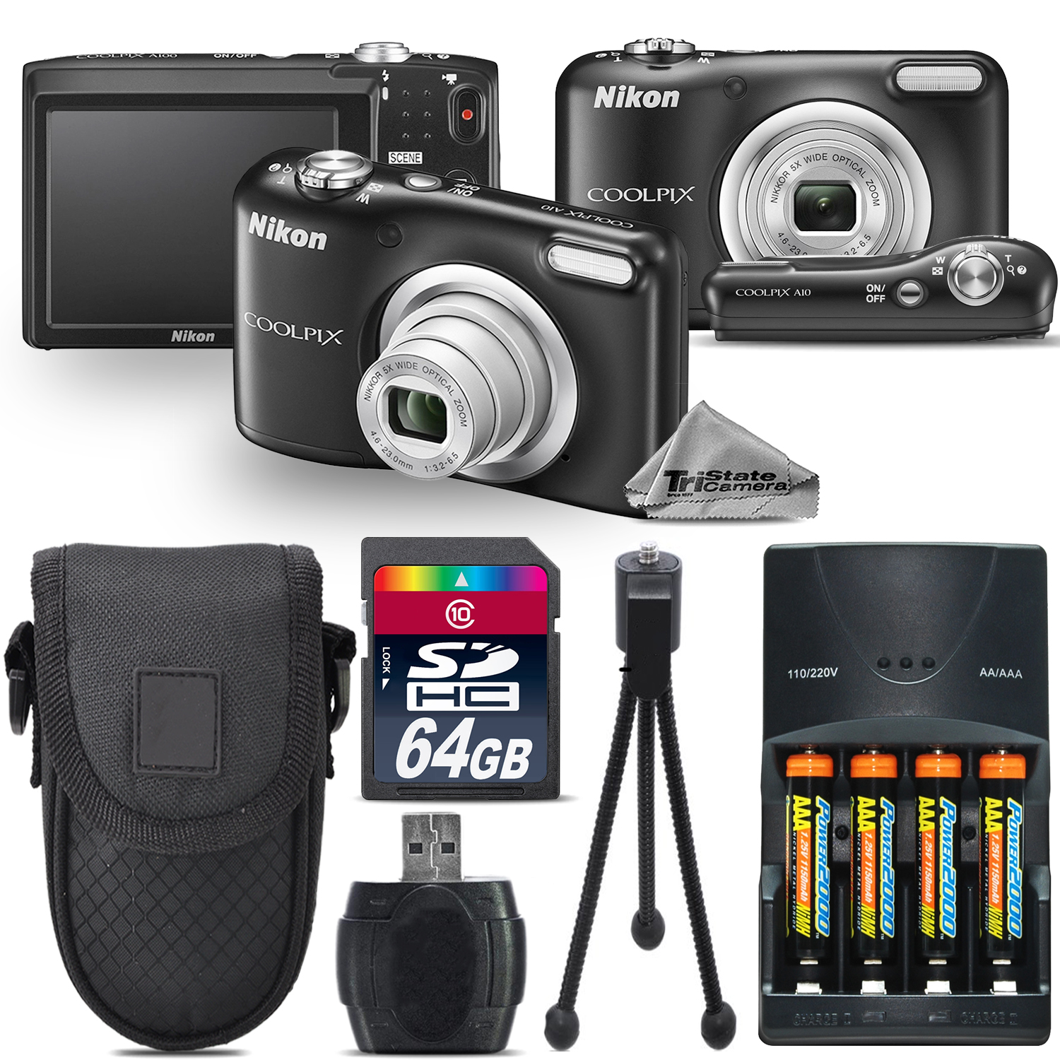 Nikon Coolpix A10 16.1MP Digital Camera (Black) 5x Optica...