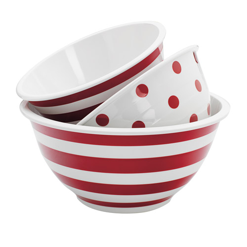 Anchor Hocking 3-Piece Decorated Melamine Mix Bowl Set