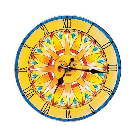 Bright Glass Suncatcher Hanging Wall Clock with Shades of Yellow, Blue and Orange, Beautiful Seasonal Accent
