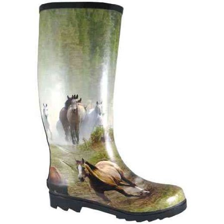 Womens Running Horses Multi-Color Rubber Print Rain 10 M, Hues Of Green, Tan, White And Brown Create Running Horses Design On Foot And Shaft By Smoky Mountain -
