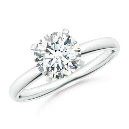 Diamond Ring Platinum Rings - April Birthstone Ring - Classic Round Diamond Solitaire Ring in Platinum (7.4mm Diamond) - SR1506D-PT-GVS2-7.4-7