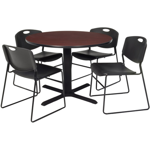 "Regency 5-Piece 36"" Round Lunchroom Table with Metal ""X"" Base and 4 Zeng Chairs"