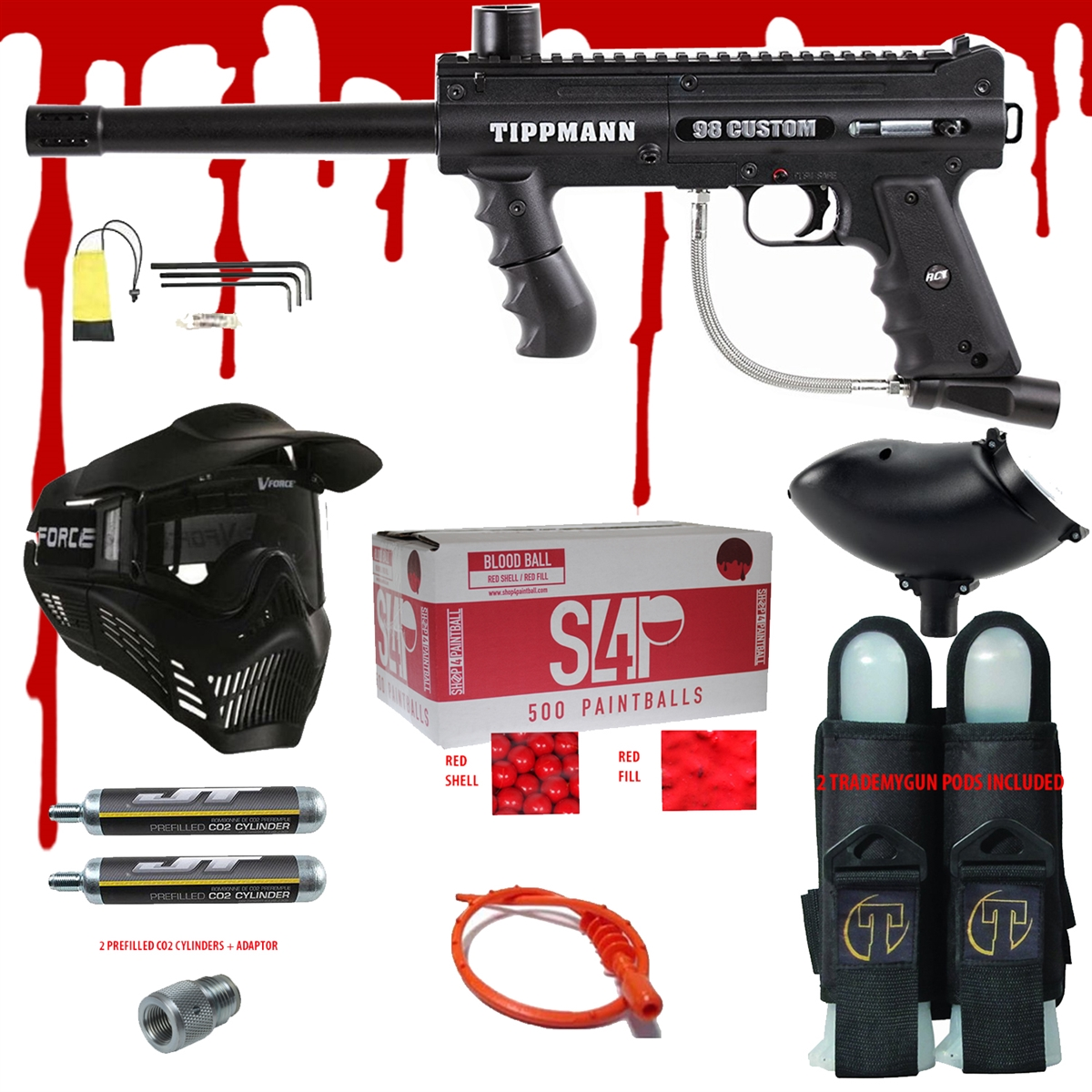 TIPPMANN 98 CUSTOM ACT BASIC .68 CAL PAINTBALL GUN KIT READY PLAY BLOOD PACKAGE