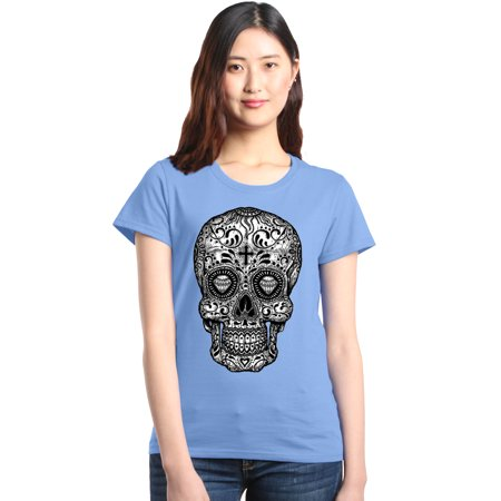 Shop4Ever Women's Black and White Skull Day of the Dead Graphic