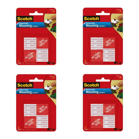 Scotch Mounting Tape Squares 3M 108 Removable 16 Double-Sided Adhesives, 4 Packs