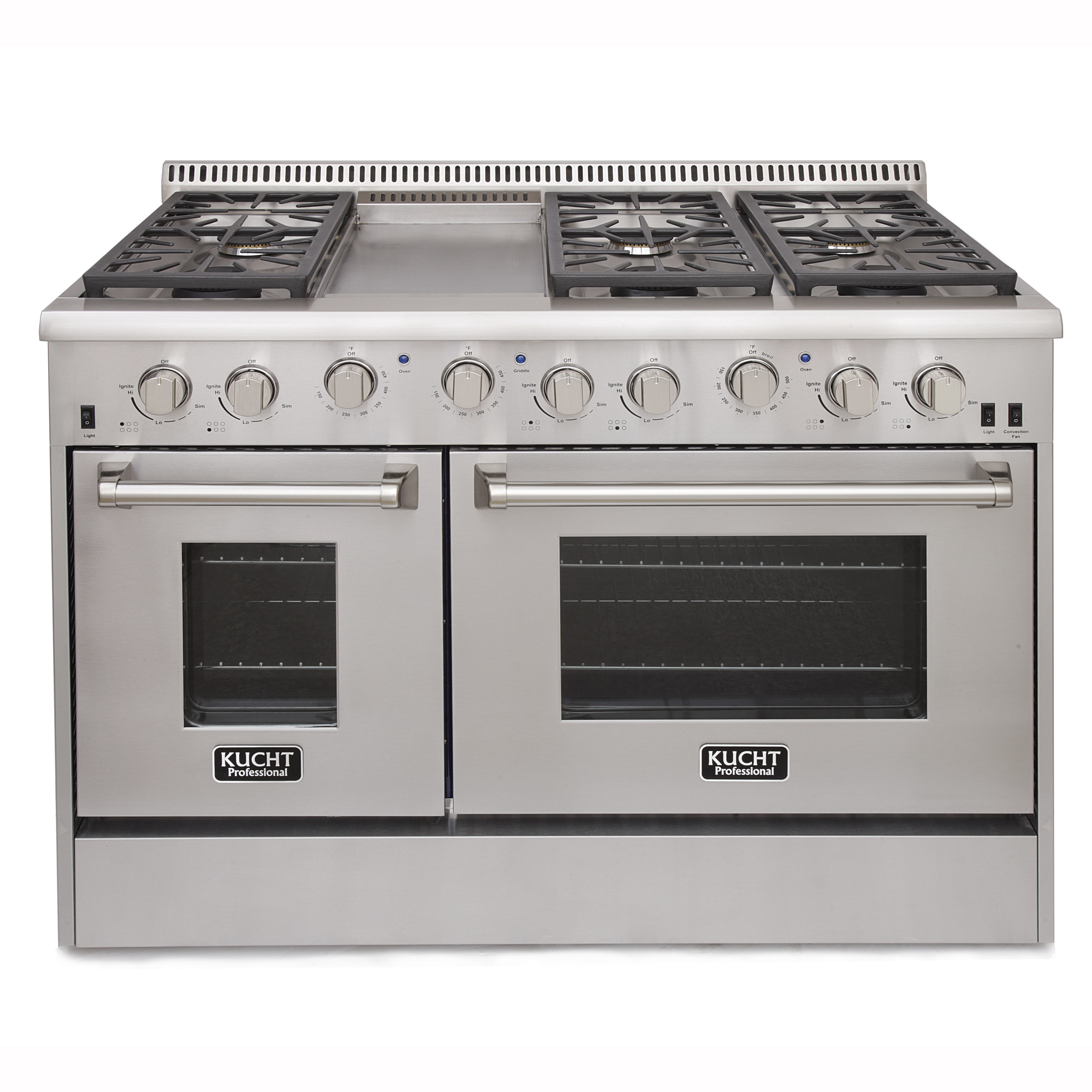 KUCHT Professional 48 in. 6.7 cu. ft. LP Gas Range with Sealed Burners, Griddle and Convection Oven in Stainless Steel