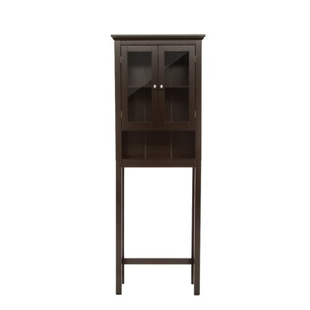 glitzhome wooden free standing storage cabinet with glass double doors espresso. Black Bedroom Furniture Sets. Home Design Ideas