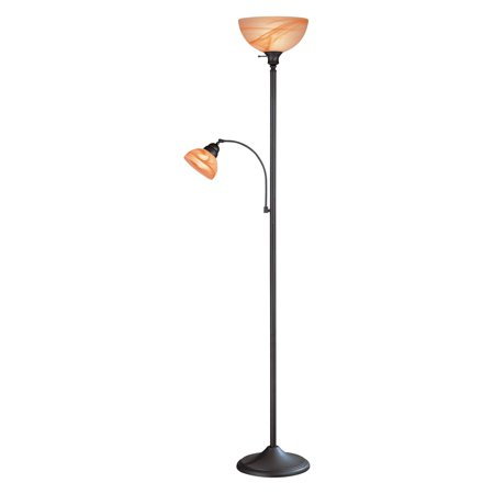 Marblesk 2-Light Torchiere/Reading Lamp