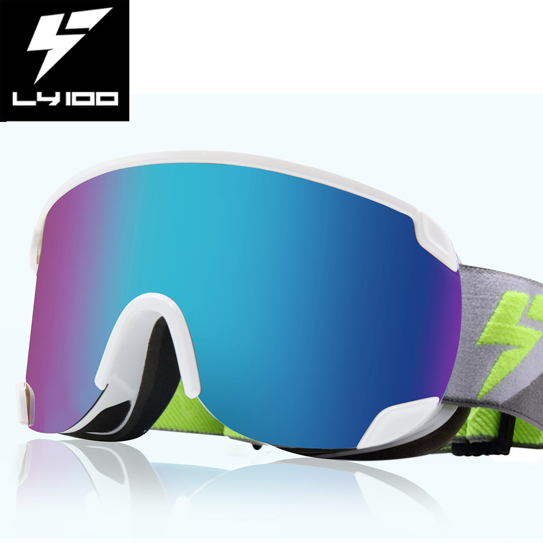 LY-100 Authorized Ski Snowboard Goggles OTG Glasses Anti-fog UV Protect White by Unique-Bargains