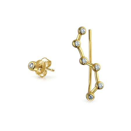 2c35c8876 Bling Jewelry - Minimalist Geometric CZ Star Constellation Wire Ear Pin  Climbers Earrings Cubic Zirconia 14K Gold Plate Sterling Silver -  Walmart.com