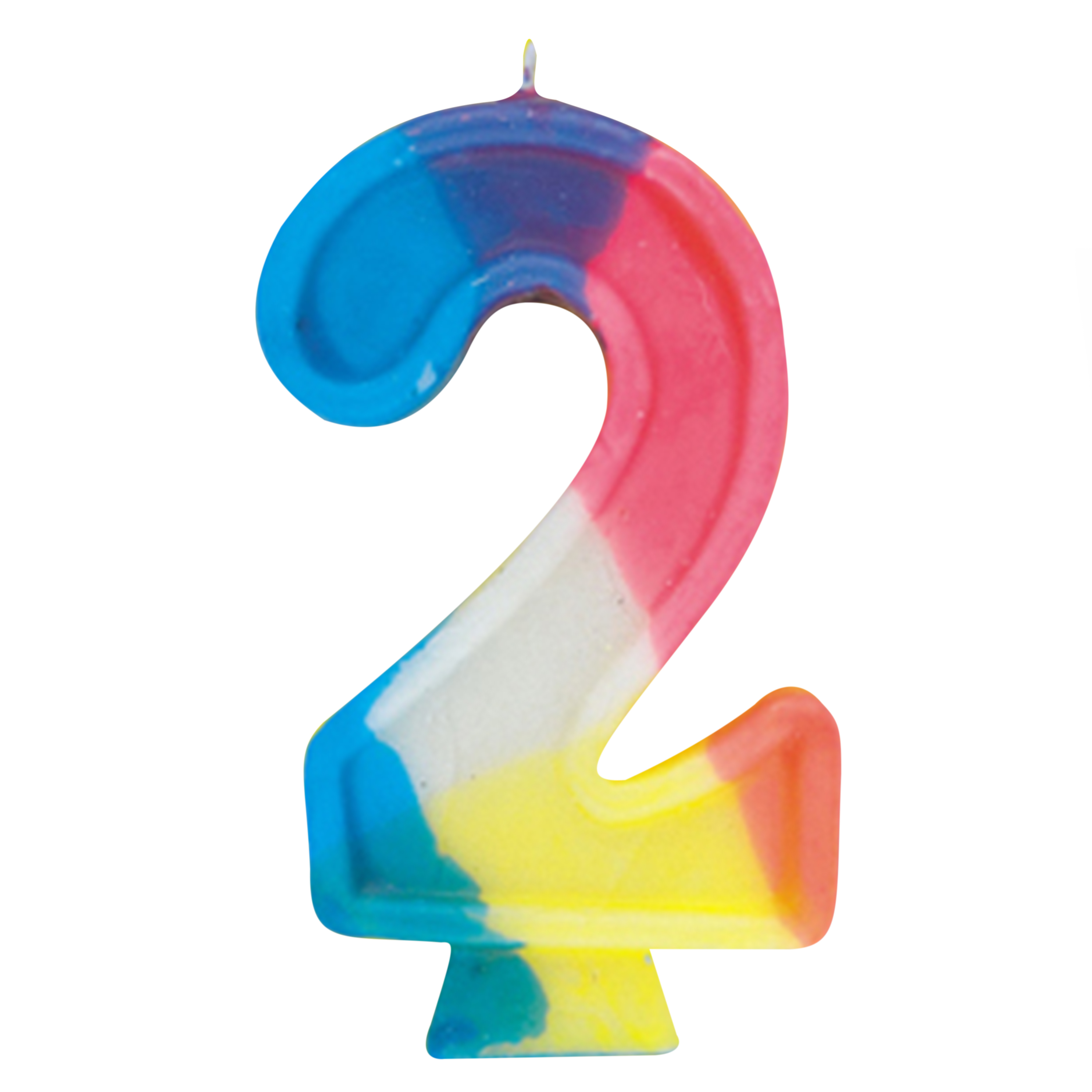 Number 2 Birthday Candle, 2.75 in, Multicolor, 1ct