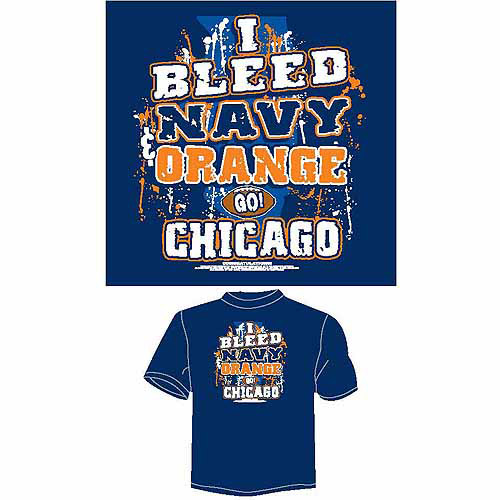 "Chicago Football ""I Bleed Navy and Orange, Go Chicago"" T-Shirt, Blue"