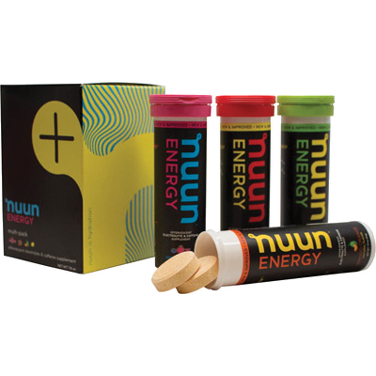 Nuun ENERGY Electrolyte/Caffeine Enhanced Supplement Hydration Tablets - Mixed 4-Pack (Wild Berry/Fresh Lime/ Cherry Lim