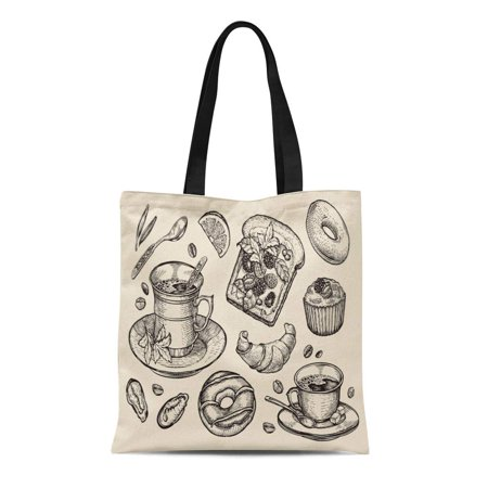 Fast Food Sandwiches (LADDKE Canvas Tote Bag Fast Food Sandwich Dessert Coffee Cup Tea Donut Croissant Reusable Shoulder Grocery Shopping Bags Handbag)