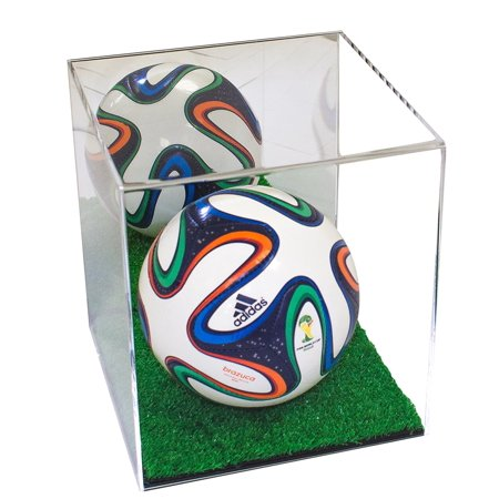 Deluxe Acrylic Mini Soccer Ball Display Case with Turf Bottom and Mirror (A015-TB)](Mini Soccer Balls)