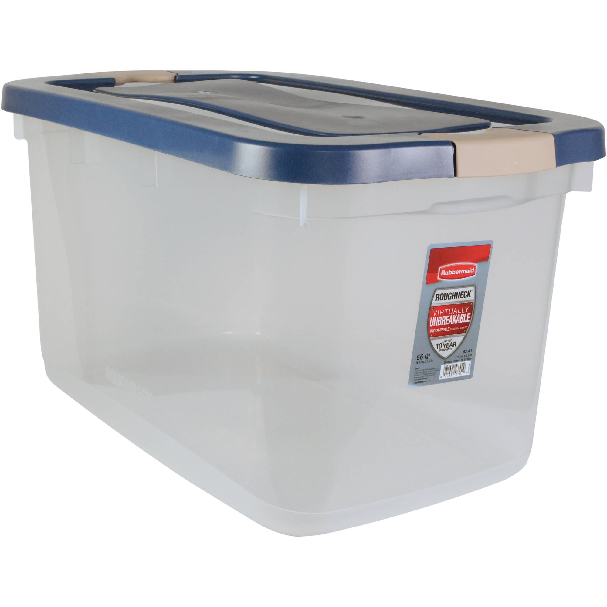 Rubbermaid Roughneck 66 Qt. (16.5 Gal) Clear Storage Tote Bin, Clear with Blue Lid