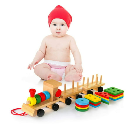 Wooden Building Blocks Stacking Train Peg Puzzles Games Toddlers Educational Baby Kid Children Boy Girl Development Toys Gift - image 12 de 12