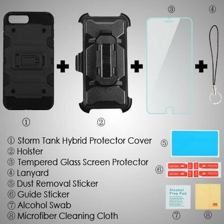 Insten Hard Hybrid TPU Cover Case w/Holster/Installed For Apple iPhone 8 Plus / 7 Plus / 6s Plus / 6 Plus - Black - image 1 de 3