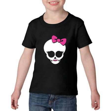 Halloween T-Shirt Girl Skull with Pink Ribbon Halloween Costumes Idea Halloween Birthday Party Gift Artix Heavy Cotton Toddler Kids T-Shirt Tee Clothing (Halloween Birthday Party Ideas Kids)