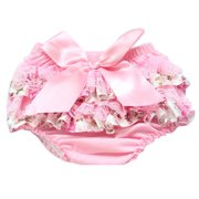 Akoyovwerve Baby Ruffle Bloomers Cute Baby Lace Diaper Cover Newborn Flower Bow Tie Shorts Toddler Fashion Summer Pants Clothing