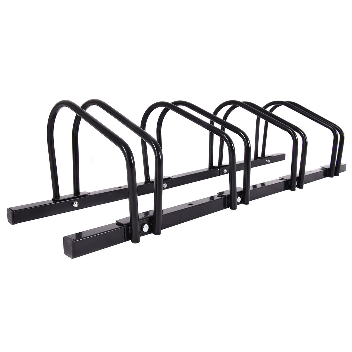 Gymax 4 Bike Bicycle Stand Parking Garage Storage Cycling Rack Black - image 8 of 10